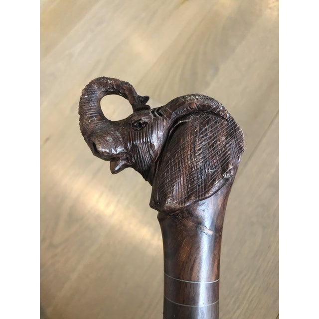 African African Carved Elephant Walking Stick/Cane For Sale - Image 3 of 7
