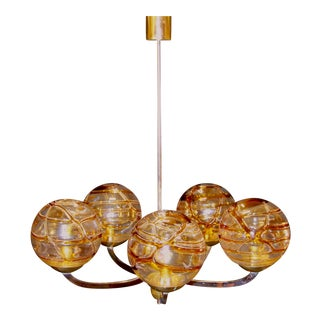 Mid 20th Century Murano Amber & Textured Glass Globes Chrome and Brass Chandelier by Doria Leuchten Lighting For Sale