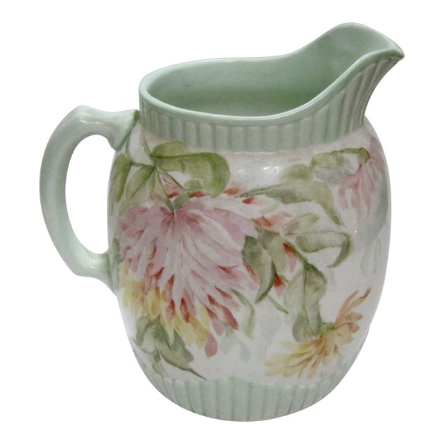 Antique Hand Painted Floral Pitcher For Sale