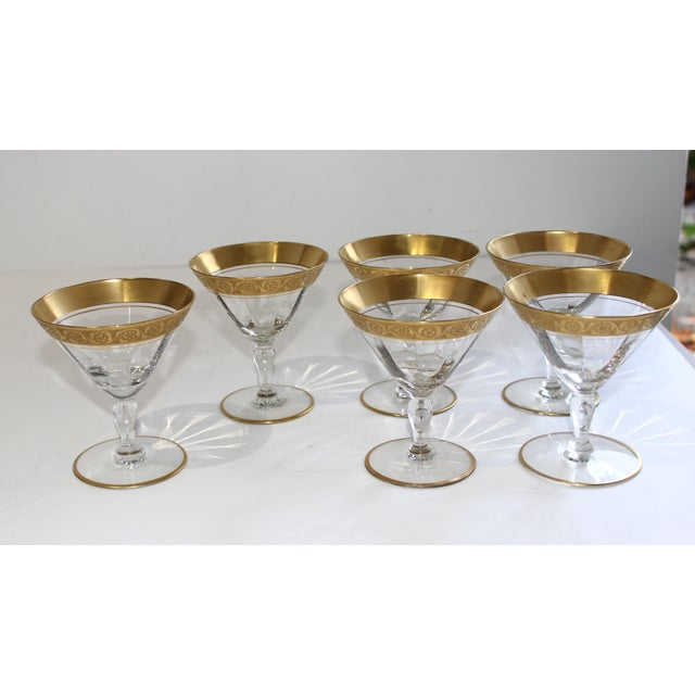 Champagne Vintage Champagne Coupes Sherbets Aperitif With Gold Band and Base Rim - Set of 6 For Sale - Image 8 of 13
