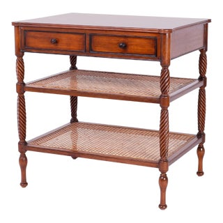 British Colonial Style Two-Tiered Side Table or Console For Sale