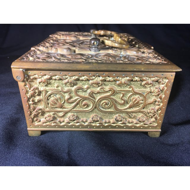 German Art Nouveau Bronze Box With Original Key For Sale In Los Angeles - Image 6 of 10
