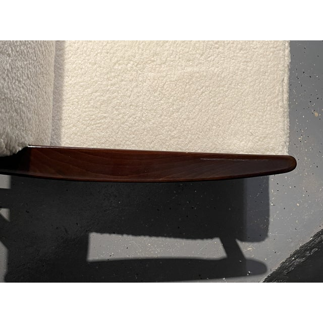 Wood Mid-Century Modern Lounge Chairs/ Style of Ib Kofod-Larsen, Plush Sherpa - a Pair For Sale - Image 7 of 11
