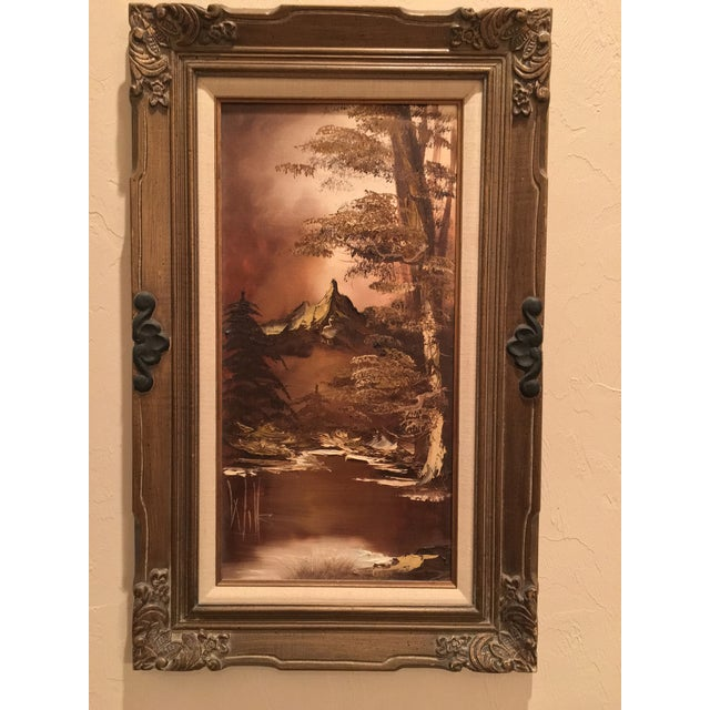Has been in the family for years. It is by Texas oil painter Martha S.M. Wills. This monochromatic brown landscape scene...