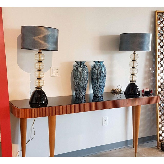1970s Mid Century Modern Gold/Black Murano Glass Lamps, Venini Style - a Pair For Sale - Image 5 of 7