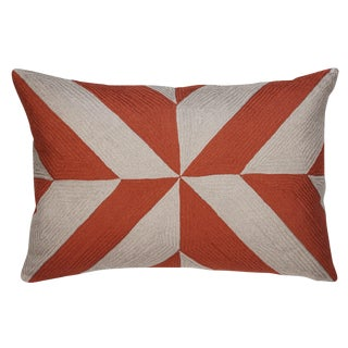 Coral and Gray Embroidered Linen Pillows, Leah - A Pair For Sale