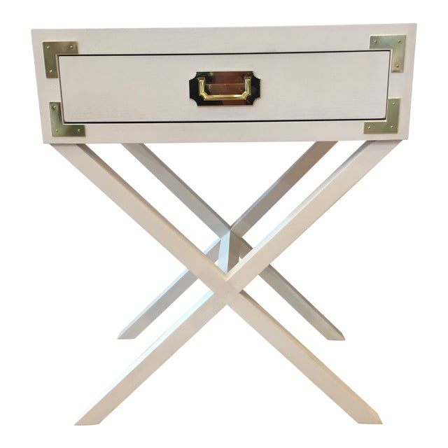 Campaign Port to Port Single Drawer Table For Sale