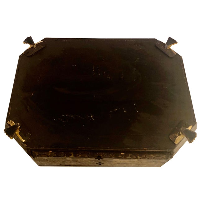 19th Century Chinese Black Lacquer Work Box For Sale - Image 10 of 11