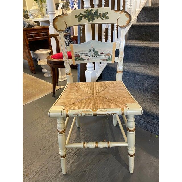 Hitchcock Vintage Limited Edition Hancock Christmas Rush Seat Side Chair For Sale - Image 4 of 7
