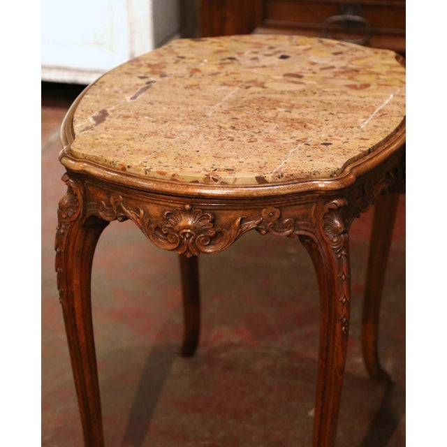 19th Century French Louis XV Carved Oak Side Table With Beige Marble Top For Sale - Image 10 of 13