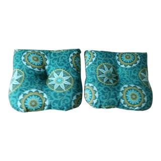 Turquoise Blue Chair Cushion Pillows - a Pair Last Call For Sale