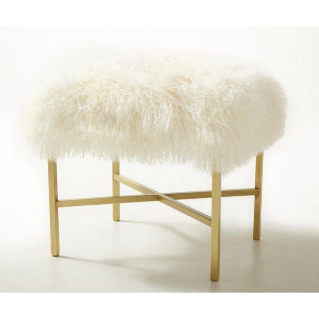 Satin brass bench with Tibetan Lamb upholstery. Made in Canada