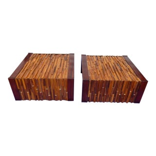 1960's Percival Lafer Geometric Wood Stacked End Tables - a Pair