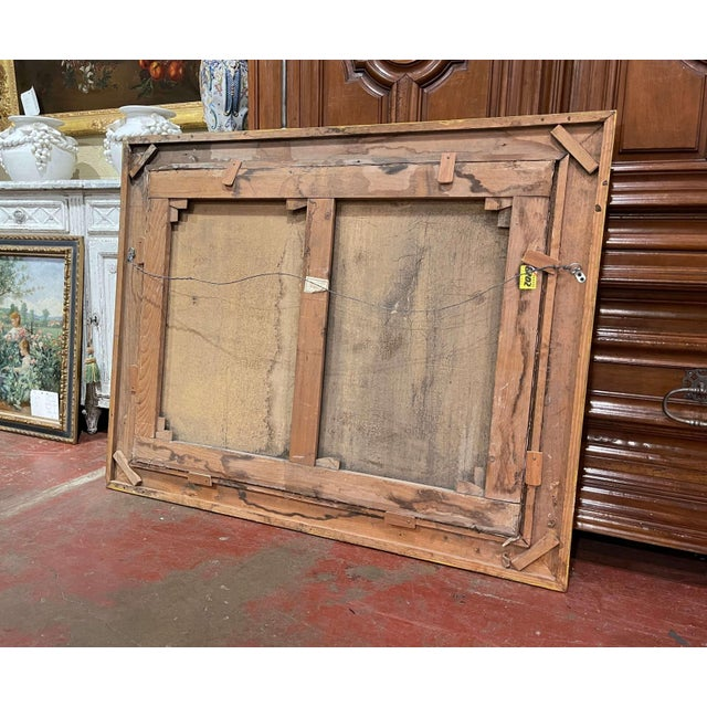 19th Century French Oil on Canvas Cow Painting in Carved Gilt Frame For Sale - Image 9 of 13