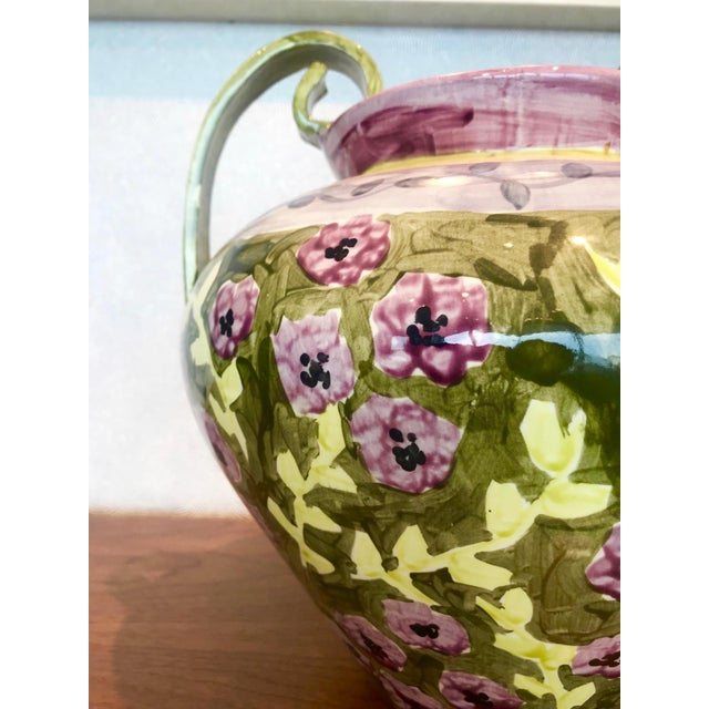 Impressionist Hand Painted Ceramic Urn Vase, Italy 1980's For Sale In Miami - Image 6 of 13