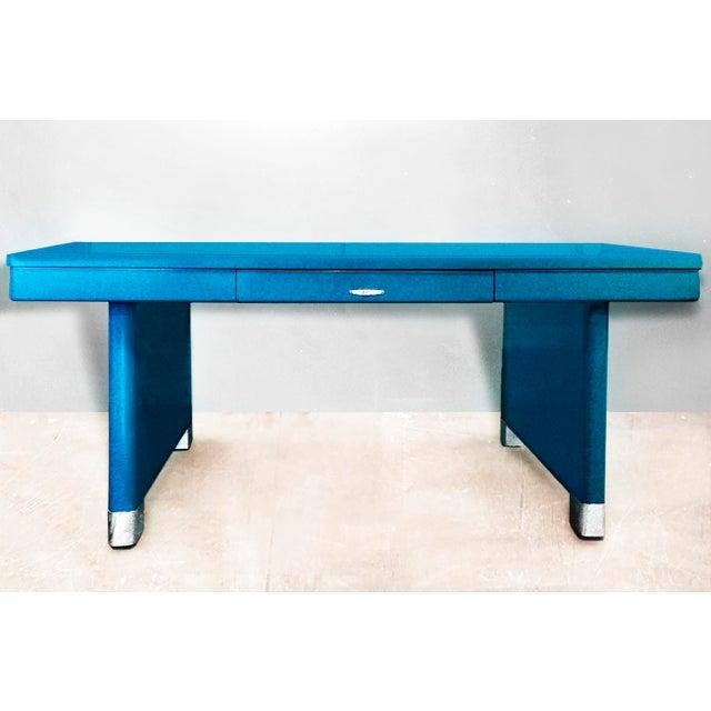 Yawman and Erbe Blue Panel Leg Table - Image 2 of 6