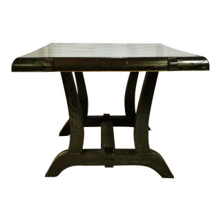 1940s Art Deco Lime Oak Dining Table With Square Pattern For Sale