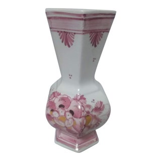 1940s Hand Painted Vase With Gold Inlay For Sale