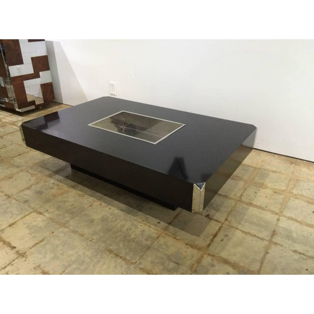 """Modern Willy Rizzo """"Alveo"""" Coffee, Cocktail Table With Dry Bar by Mario Sabot For Sale - Image 3 of 6"""