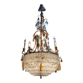 French Victorian Gilt Bronze Chandelier With 3 Arms Emanating From a Crystal Beaded Bowl For Sale
