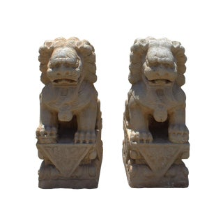 Chinese Distressed Marble Stone Fengshui Foo Dogs Statues - A Pair For Sale