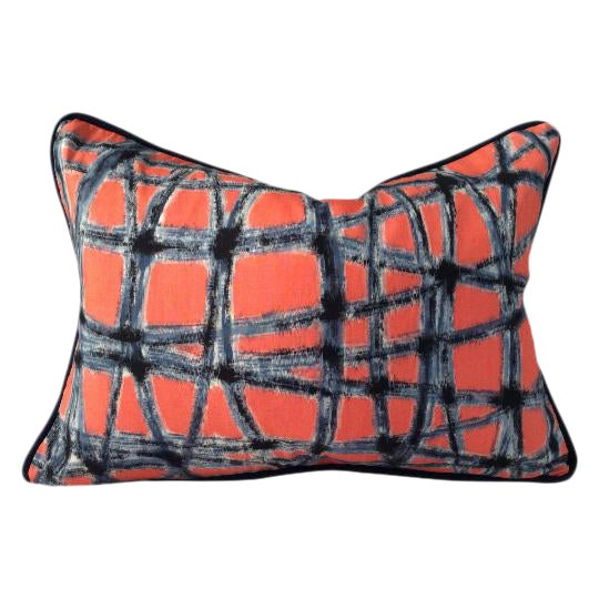 Mid-Century Abstract Navy & Coral Throw Pillows - A Pair - Image 1 of 5