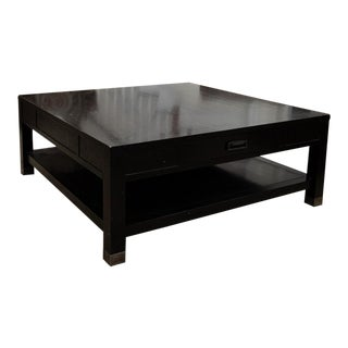 Kravet Black Square Bi-Level Coffee Table With Two Storage Drawers For Sale