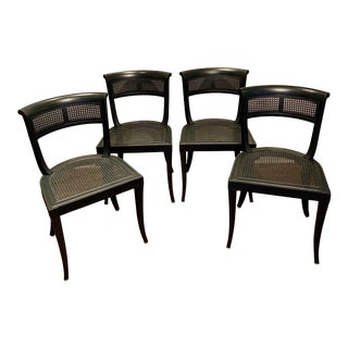 Mid 20th Century Painted Cane Side Chairs - Set of 4 For Sale