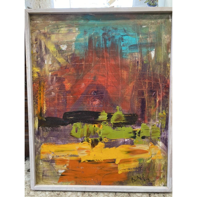 Abstract Late 20th Century Abstract Expressionist Oil Painting, Framed For Sale - Image 3 of 9