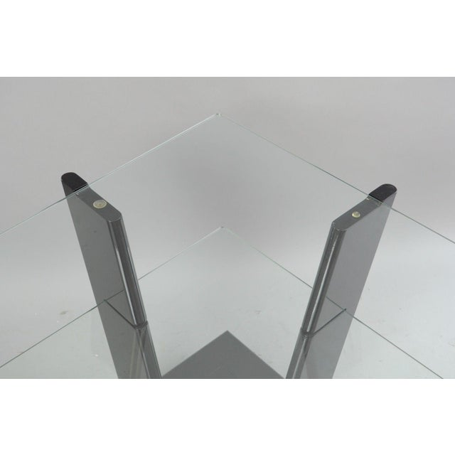 Glass Pair of Contemporary Modern Black Lacquer & Glass 3 Tier End Tables Sculptural For Sale - Image 7 of 11
