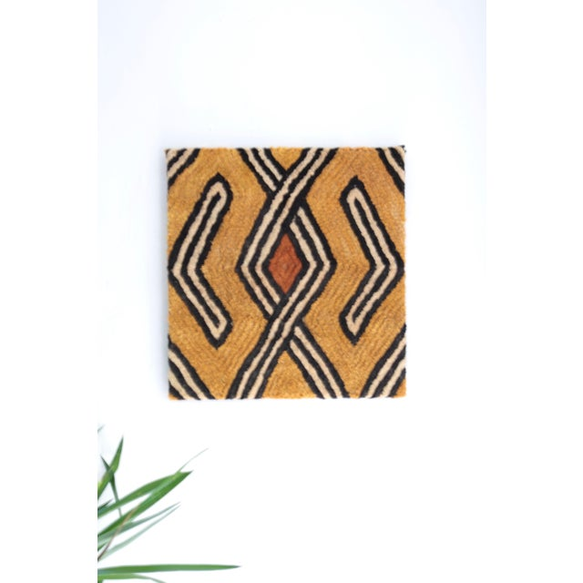 African Mounted Vintage Kuba Cloth Wall Hanging For Sale - Image 3 of 8