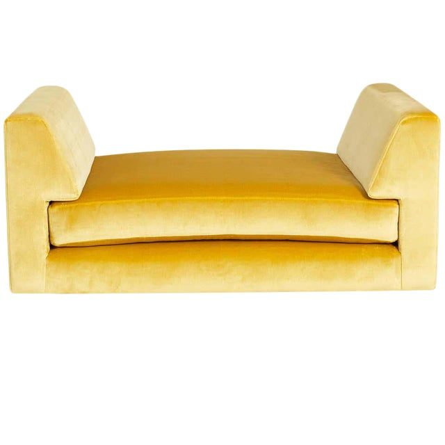 Lucite and Yellow Silk Velvet Bench For Sale