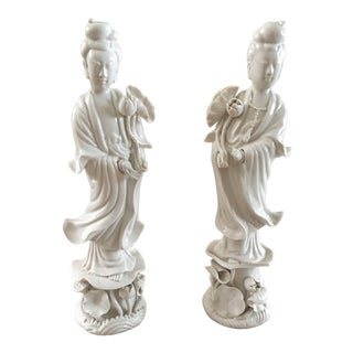 1900s Hollywood Regency Blanc De Chine Figurines - a Pair For Sale
