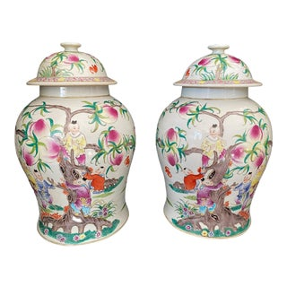 Chinoiserie Famille Rose Ginger Jars - a Pair For Sale