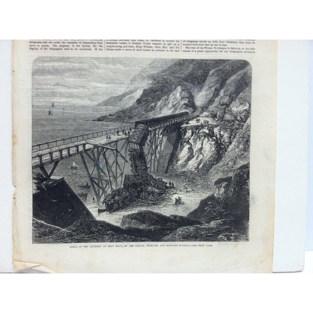 "English 1867 Antique Illustrated London News ""Scene of the Accident at Bray Head"" Print For Sale - Image 3 of 5"