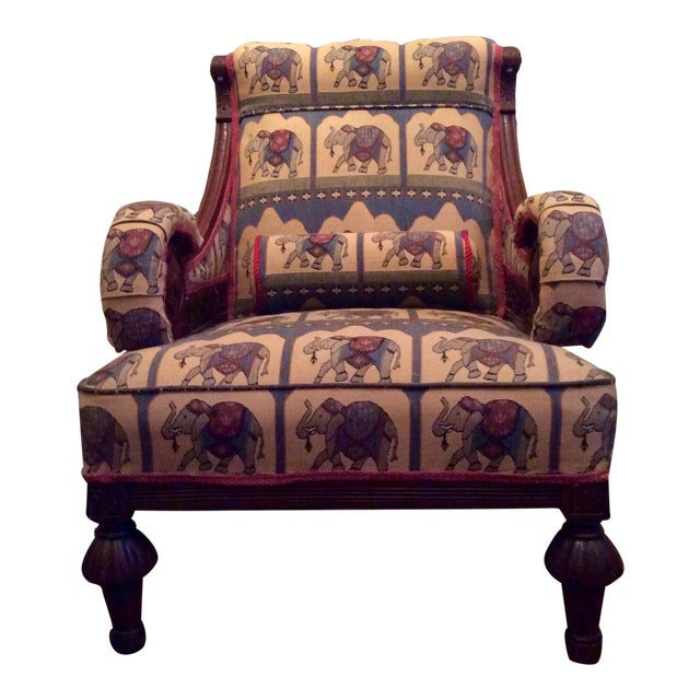 1800's Victorian Carved & Upholstered Armchair - Image 1 of 6