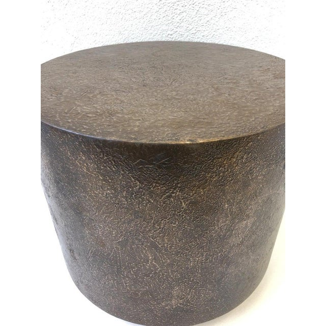 Bronze Bronze and Polish Stainless Steel Drum Side Table by Steve Chase For Sale - Image 7 of 8