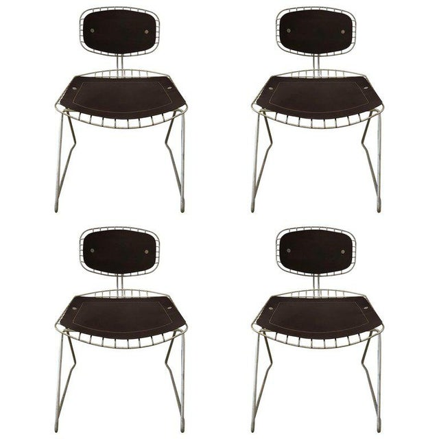 Pair of Beauborg Wire and Leather Stacking Chairs For Sale In New York - Image 6 of 7