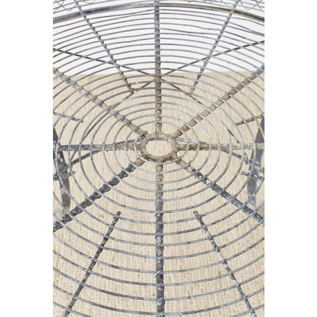 Gray French Wrought Iron and Wire Garden Dining Table For Sale - Image 8 of 13