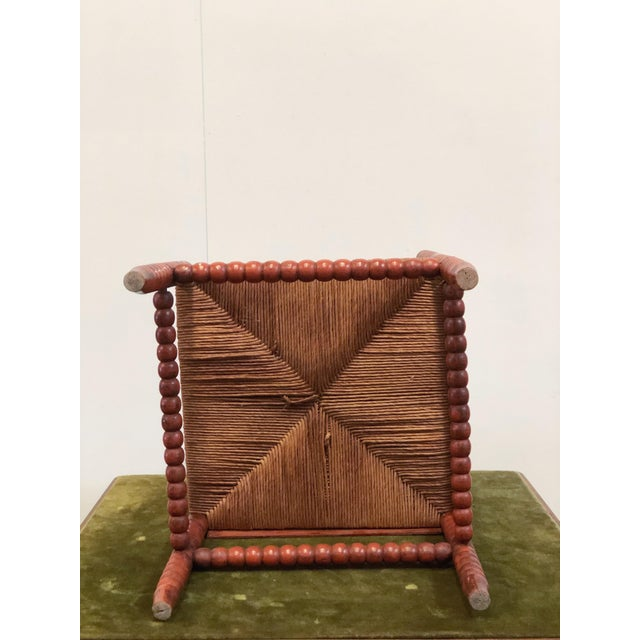 Red 1940s Vintage French Turned Wood Corner Chair For Sale - Image 8 of 10