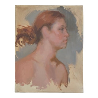 Vintage Female Portrait Oil Painting Study For Sale