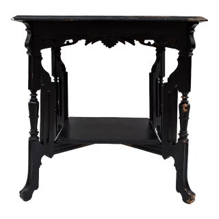 Vintage Carved Leg Wood Library Table For Sale
