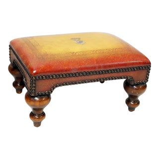 Late 20th Century Wood and Leather Footstool For Sale