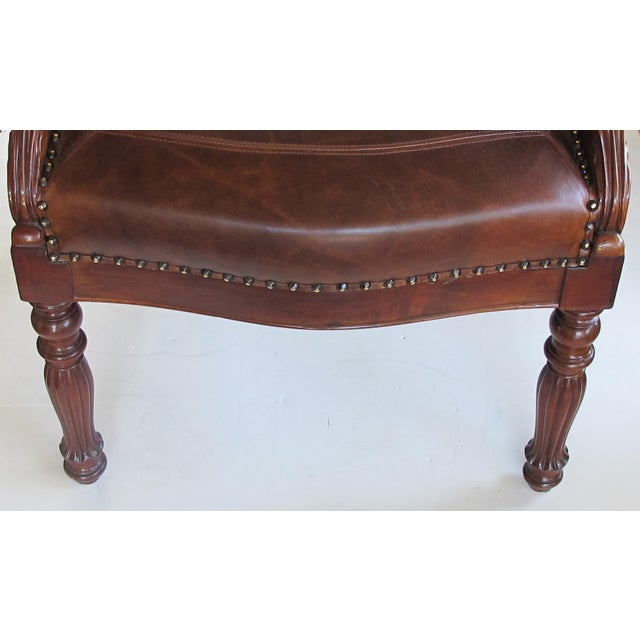 Mid 19th Century French Restoration Carved Mahogany Barrel-Back Desk Chair With Acanthus Leaves For Sale - Image 5 of 9
