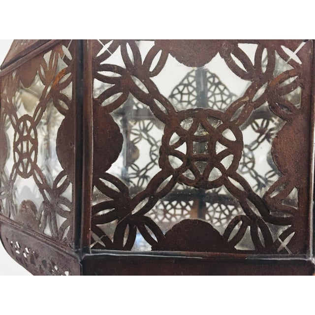 Islamic Moroccan Light Fixture in Moorish Design Clear Glass and Metal Filigree For Sale - Image 3 of 12