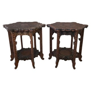 Pair of Anglo-Indian Carved Rosewood Hexagonal Side Tables, Early 1900s For Sale