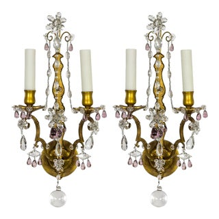 Gilt Maison Bagues Style Amethyst Crystal Sconces, Pair For Sale