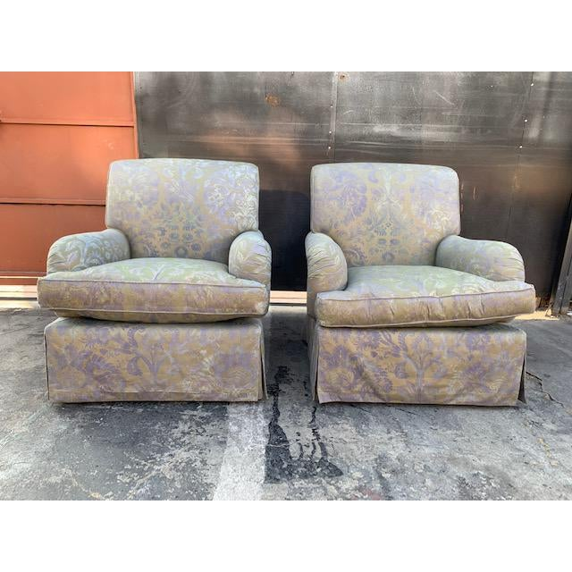 These elegant and timeless swivel club chairs are hand crafted with Italian Fortuny Fabric. Mariano Fortuny is famous for...