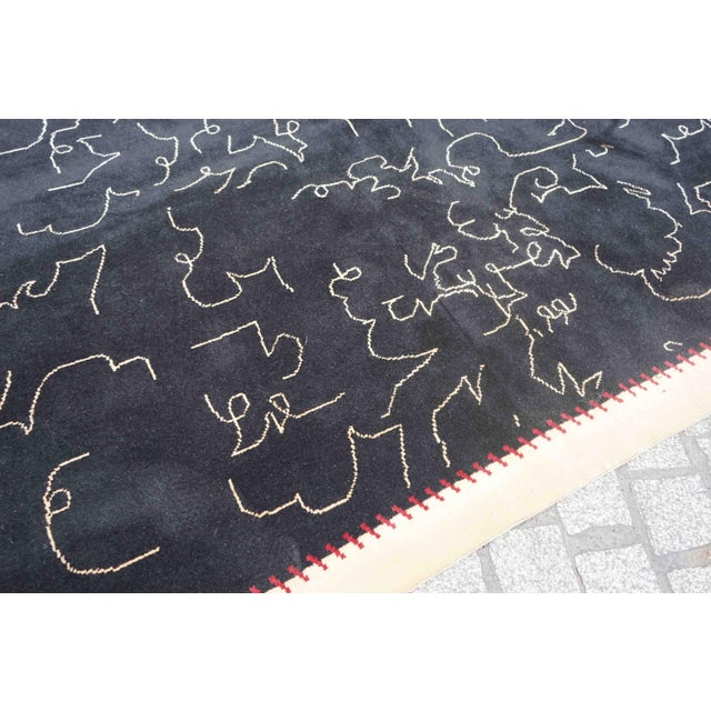 Boccara Limited Edition Artistic Wool Rug Homage to Jean Cocteau 'Black' For Sale - Image 6 of 8