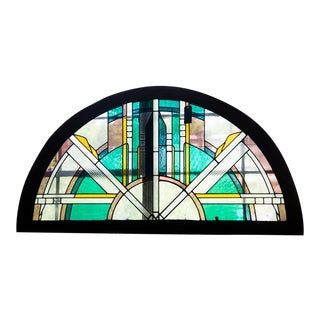 1920s Vintage Art Deco Half Round Stained Glass Window For Sale